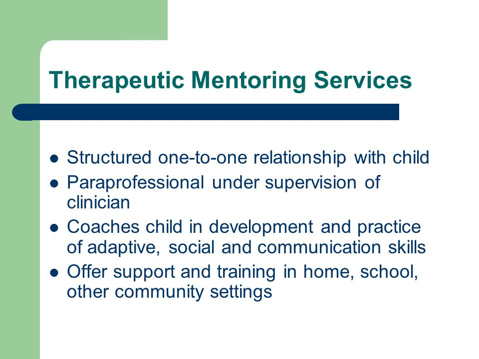 Therapeutic Mentoring Services Structured one-to-one relationship with child Paraprofessional under supervision of clinician Coaches child in development and practice of adaptive, social and communication skills Offer support and training in home, school, other community settings