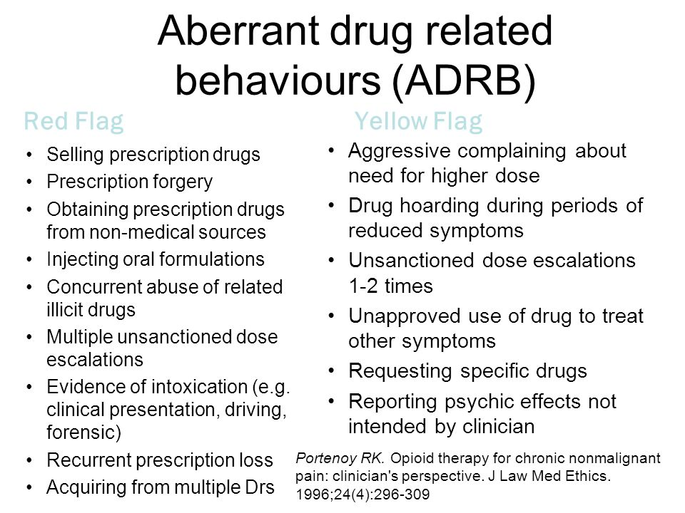 Aberrant drug related behaviours (ADRB) Red Flag Selling prescription drugs Prescription forgery Obtaining prescription drugs from non-medical sources Injecting oral formulations Concurrent abuse of related illicit drugs Multiple unsanctioned dose escalations Evidence of intoxication (e.g.
