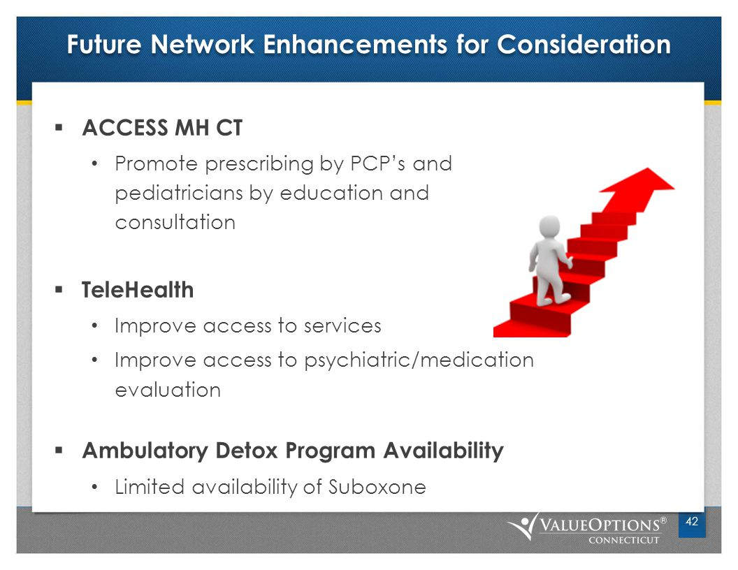 Future Network Enhancements for Consideration  ACCESS MH CT Promote prescribing by PCP's and pediatricians by education and consultation  TeleHealth Improve access to services Improve access to psychiatric/medication evaluation  Ambulatory Detox Program Availability Limited availability of Suboxone 42