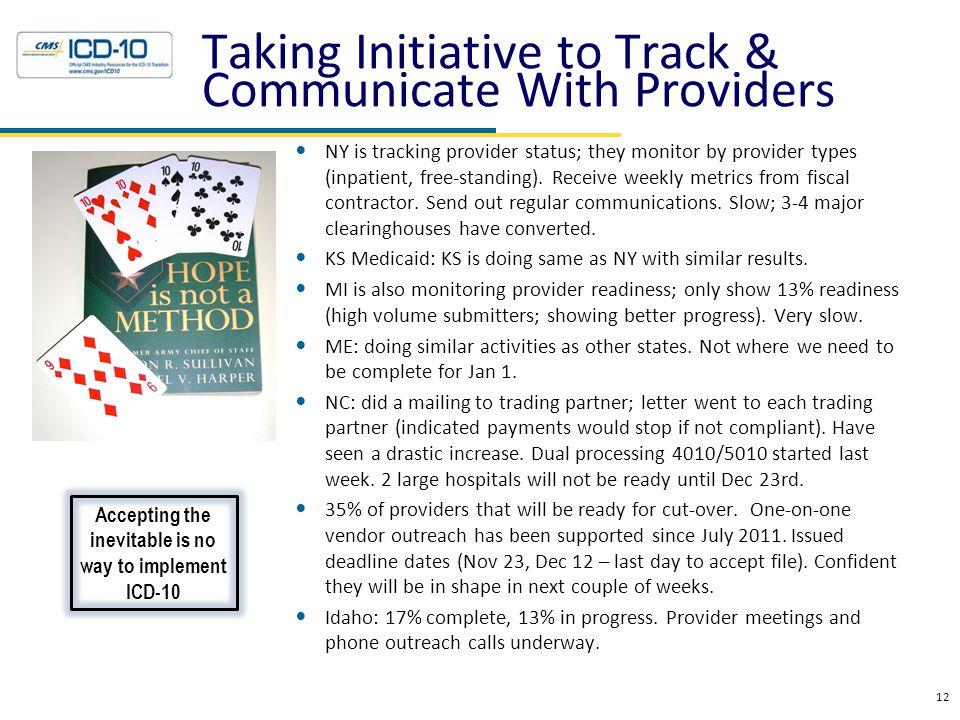 Taking Initiative to Track & Communicate With Providers NY is tracking provider status; they monitor by provider types (inpatient, free-standing). Rec