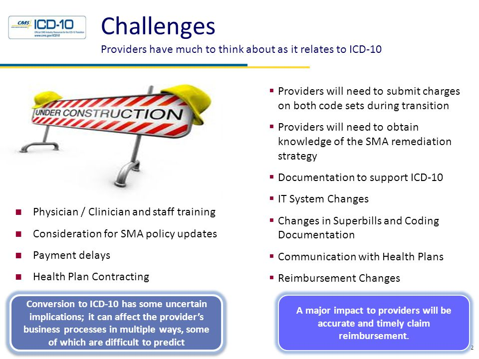 Challenges Providers have much to think about as it relates to ICD-10 2  Providers will need to submit charges on both code sets during transition 