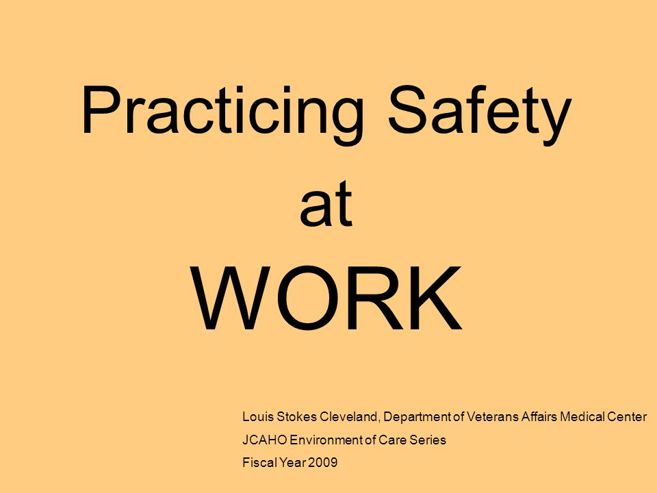 Practicing Safety at WORK Louis Stokes Cleveland, Department of Veterans Affairs Medical Center JCAHO Environment of Care Series Fiscal Year 2009