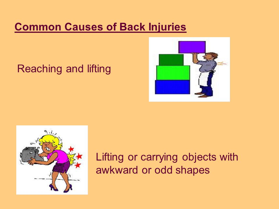 Common Causes of Back Injuriesh Back Injuries Twisting at the waist while lifting or holding a heavy load Heavy lifting Working in awkward, uncomforta