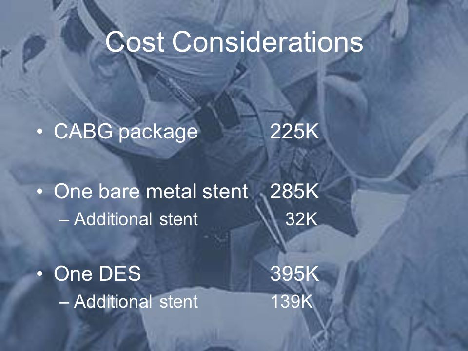Cost Considerations CABG package 225K One bare metal stent 285K –Additional stent 32K One DES395K –Additional stent139K