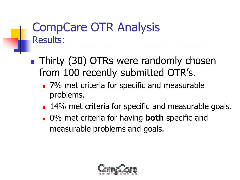 CompCare OTR Analysis Results: Thirty (30) OTRs were randomly chosen from 100 recently submitted OTR's.