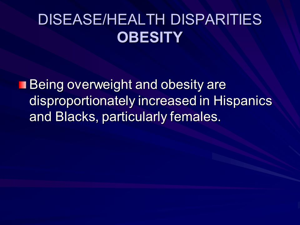 DISEASE/HEALTH DISPARITIES OBESITY Being overweight and obesity are disproportionately increased in Hispanics and Blacks, particularly females.