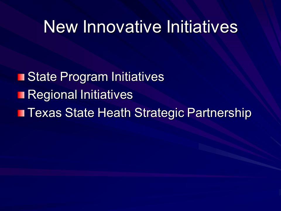 New Innovative Initiatives State Program Initiatives Regional Initiatives Texas State Heath Strategic Partnership