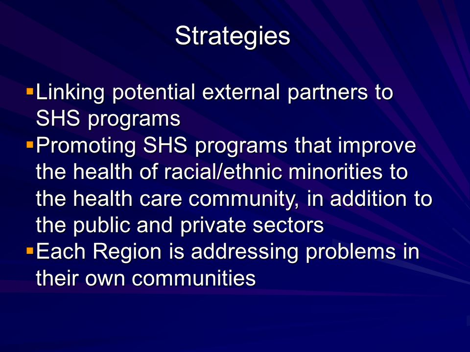  Linking potential external partners to SHS programs  Promoting SHS programs that improve the health of racial/ethnic minorities to the health care community, in addition to the public and private sectors  Each Region is addressing problems in their own communities Strategies