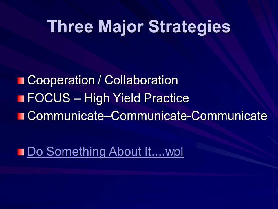 Three Major Strategies Cooperation / Collaboration FOCUS – High Yield Practice Communicate–Communicate-Communicate Do Something About It....wpl Do Something About It....wpl