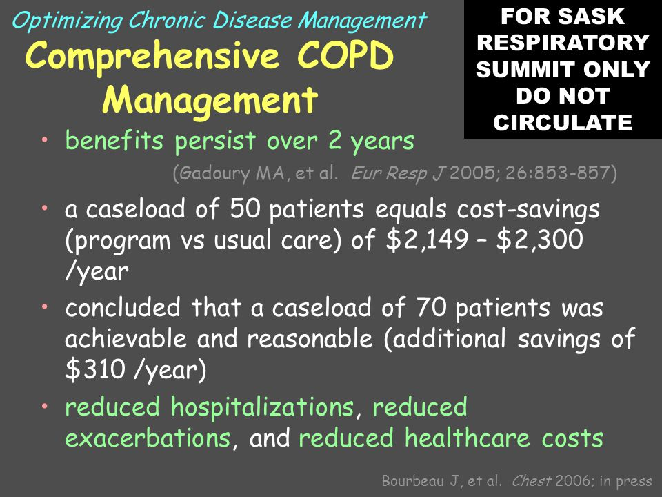 Comprehensive COPD Management benefits persist over 2 years (Gadoury MA, et al.