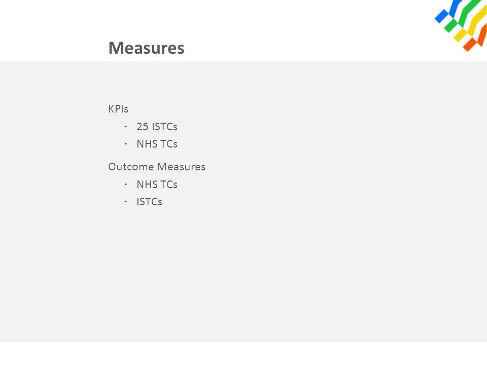 Measures KPIs · 25 ISTCs · NHS TCs Outcome Measures · NHS TCs · ISTCs