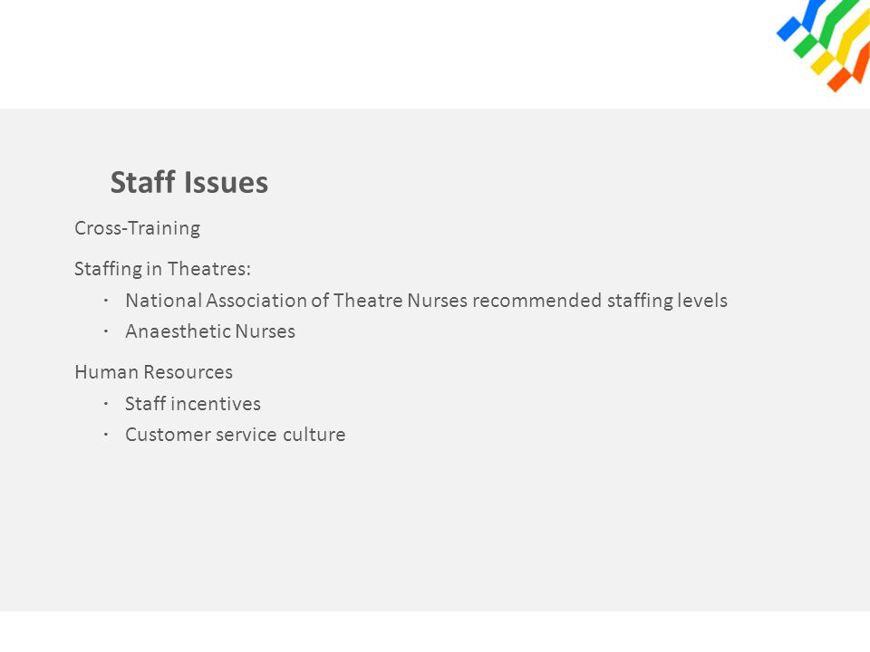 Staff Issues Cross-Training Staffing in Theatres: · National Association of Theatre Nurses recommended staffing levels · Anaesthetic Nurses Human Resources · Staff incentives · Customer service culture