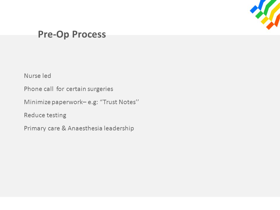 "Pre-Op Process Nurse led Phone call for certain surgeries Minimize paperwork– e.g: ""Trust Notes'' Reduce testing Primary care & Anaesthesia leadership"