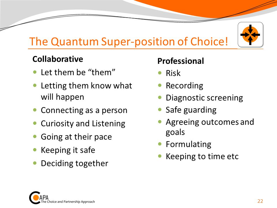 "The Quantum Super-position of Choice! Collaborative Let them be ""them"" Letting them know what will happen Connecting as a person Curiosity and Listeni"