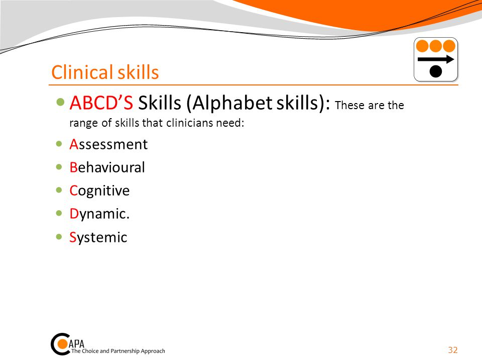 Clinical skills ABCD'S Skills (Alphabet skills): These are the range of skills that clinicians need: Assessment Behavioural Cognitive Dynamic. Systemi