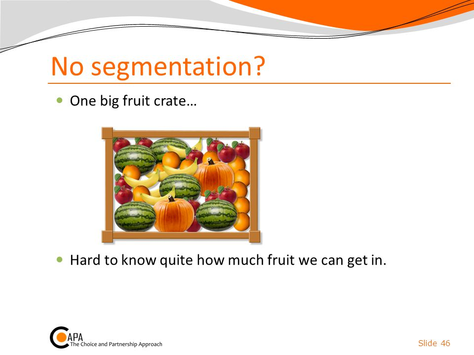 No segmentation? Slide 46 One big fruit crate… Hard to know quite how much fruit we can get in.