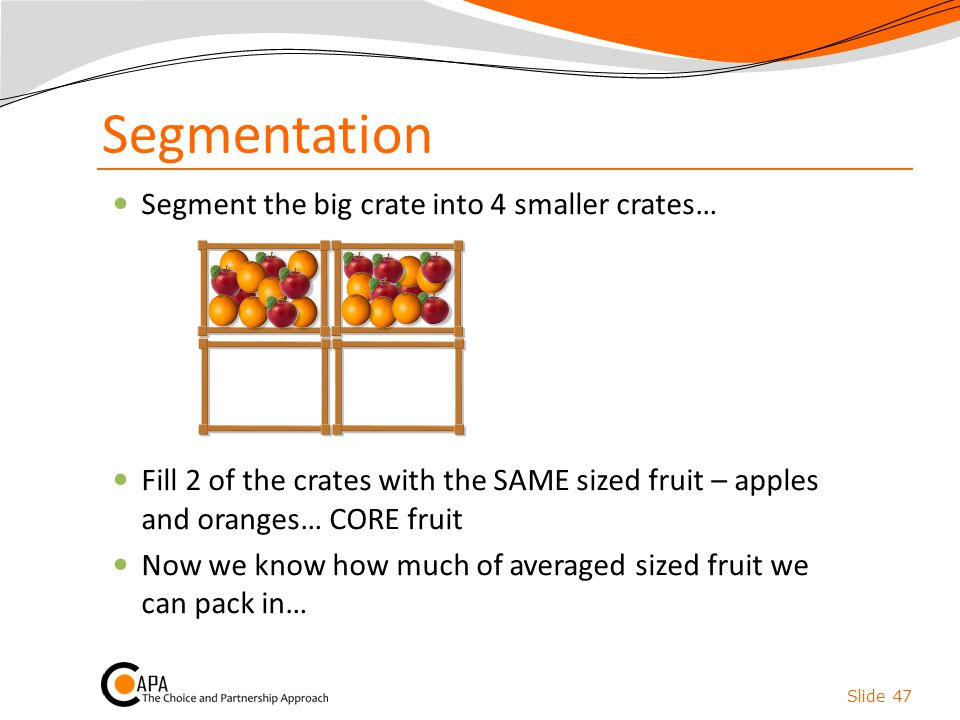 Segmentation Segment the big crate into 4 smaller crates… Fill 2 of the crates with the SAME sized fruit – apples and oranges… CORE fruit Now we know