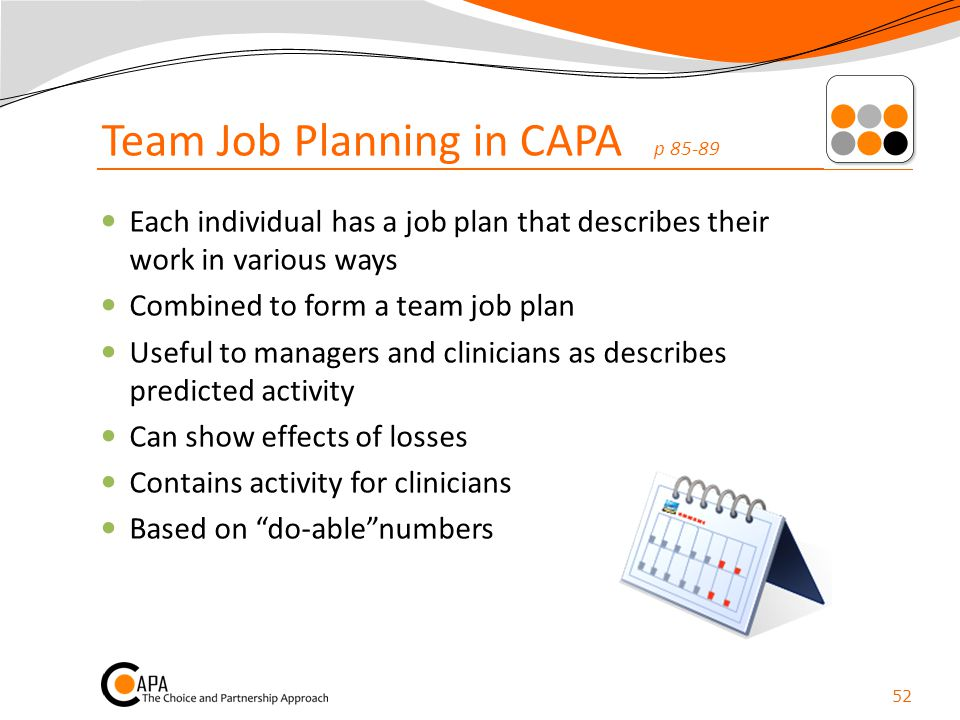 Team Job Planning in CAPA p 85-89 Each individual has a job plan that describes their work in various ways Combined to form a team job plan Useful to