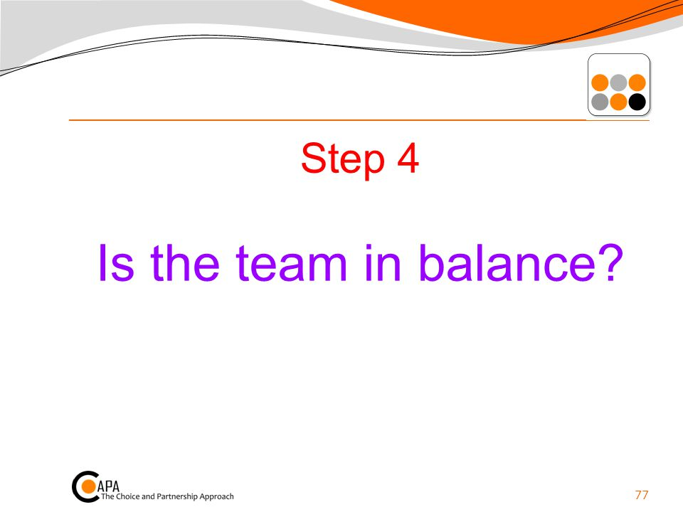 Step 4 Is the team in balance? 77