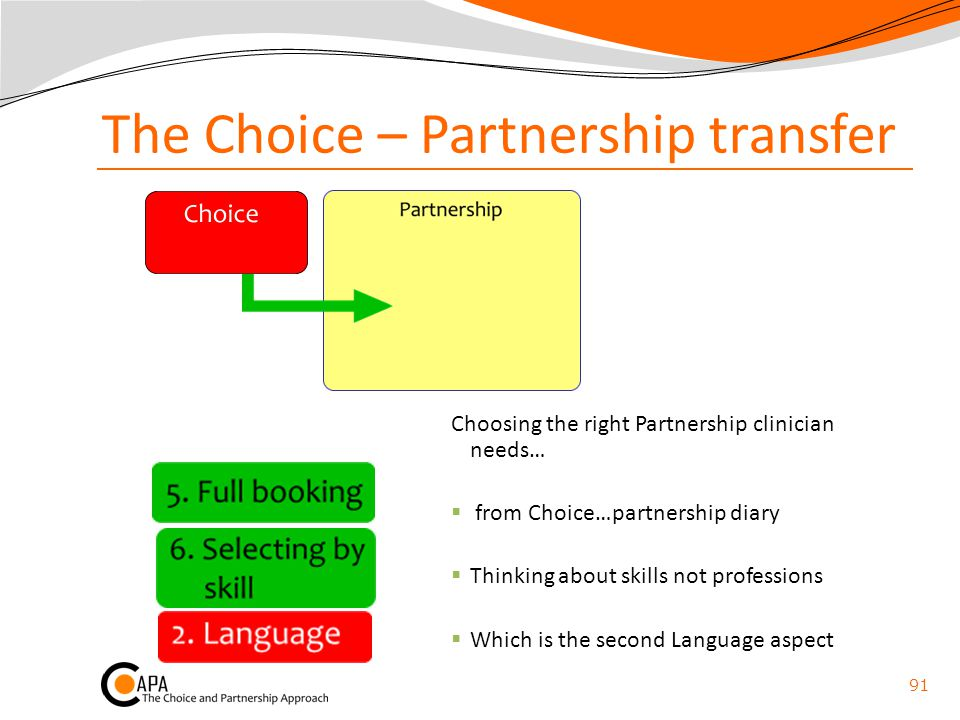 The Choice – Partnership transfer Choosing the right Partnership clinician needs…  from Choice…partnership diary  Thinking about skills not professi