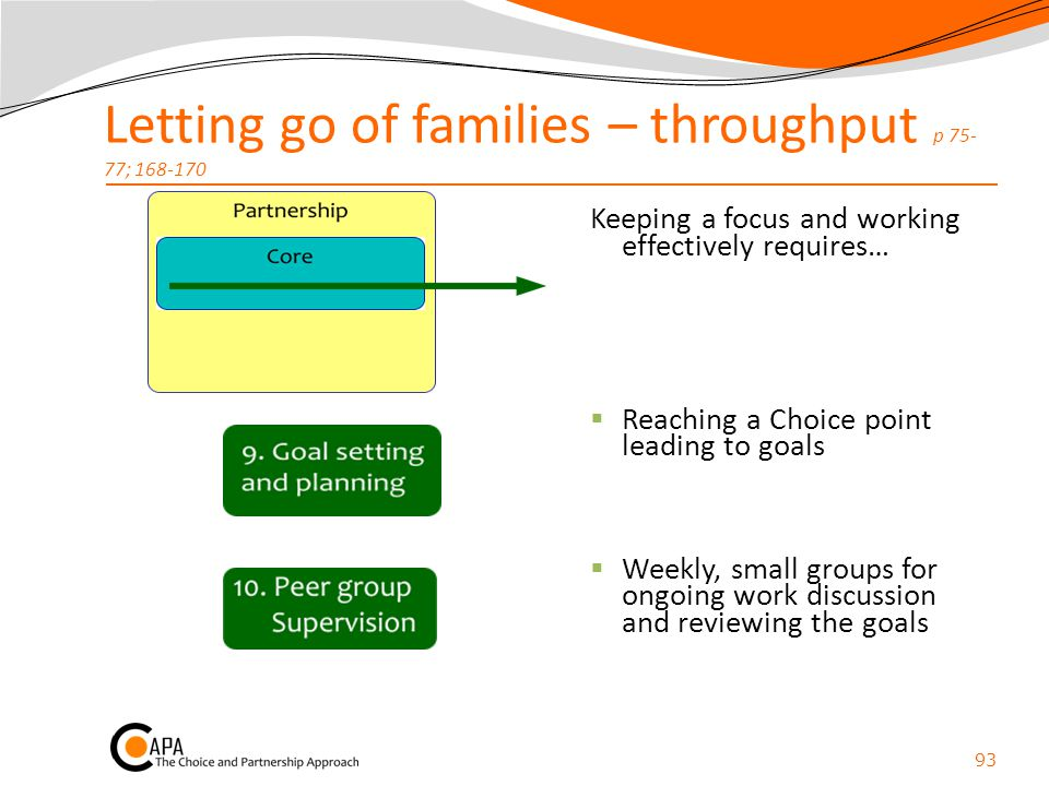 Letting go of families – throughput p 75- 77; 168-170 Keeping a focus and working effectively requires…  Reaching a Choice point leading to goals  W