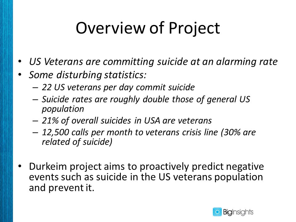 Overview of Project US Veterans are committing suicide at an alarming rate Some disturbing statistics: – 22 US veterans per day commit suicide – Suicide rates are roughly double those of general US population – 21% of overall suicides in USA are veterans – 12,500 calls per month to veterans crisis line (30% are related of suicide) Durkeim project aims to proactively predict negative events such as suicide in the US veterans population and prevent it.