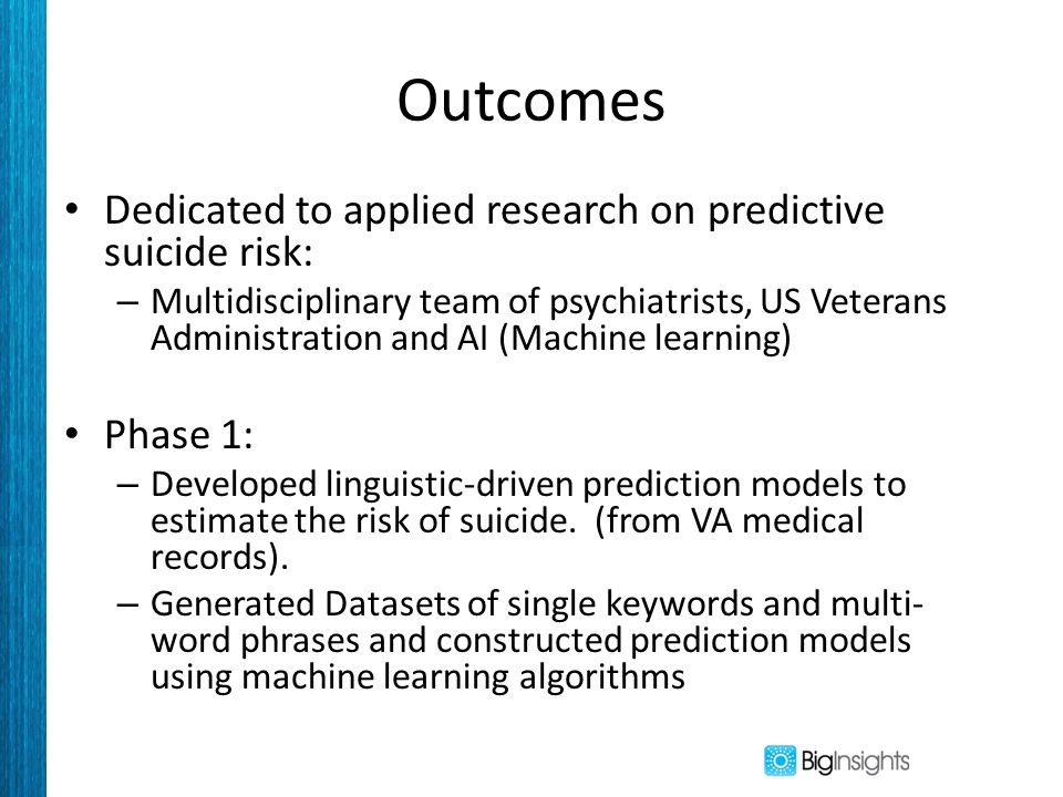 Outcomes Dedicated to applied research on predictive suicide risk: – Multidisciplinary team of psychiatrists, US Veterans Administration and AI (Machine learning) Phase 1: – Developed linguistic-driven prediction models to estimate the risk of suicide.