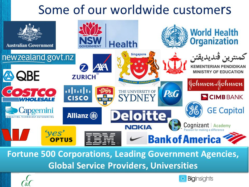 Some of our worldwide custome rs. Fortune 500 Corporations, Leading Government Agencies, Global Service Providers, Universities