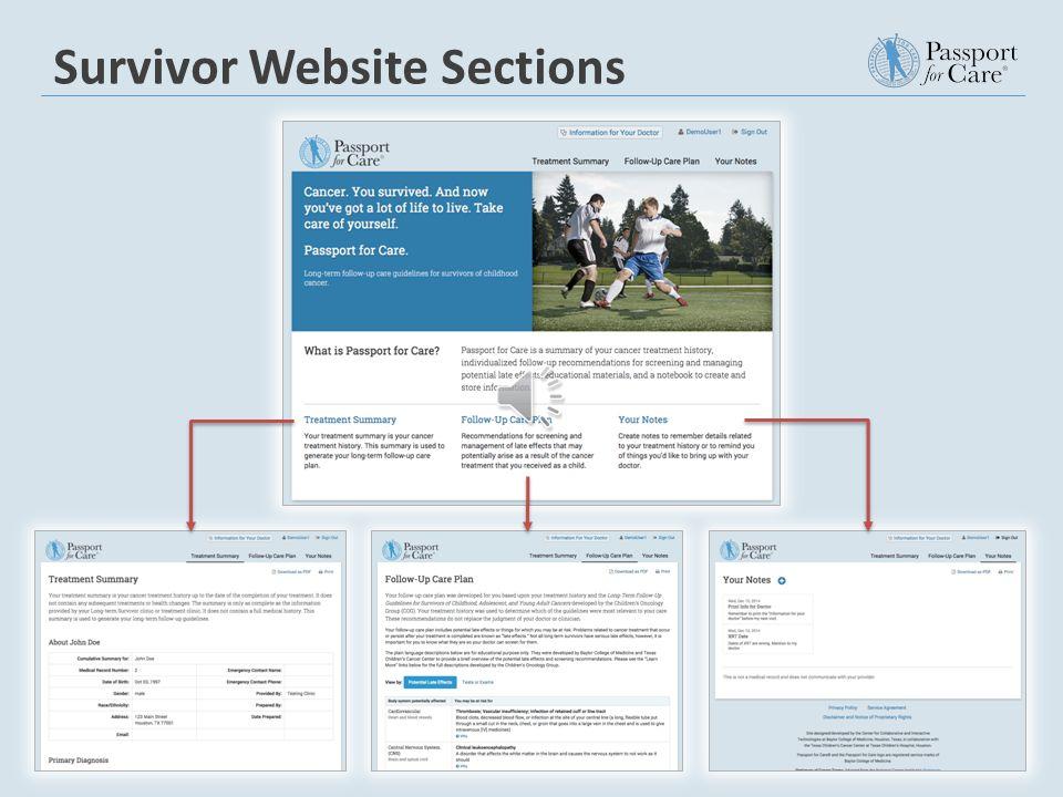Survivor Website Passport for Care Clinician Portal