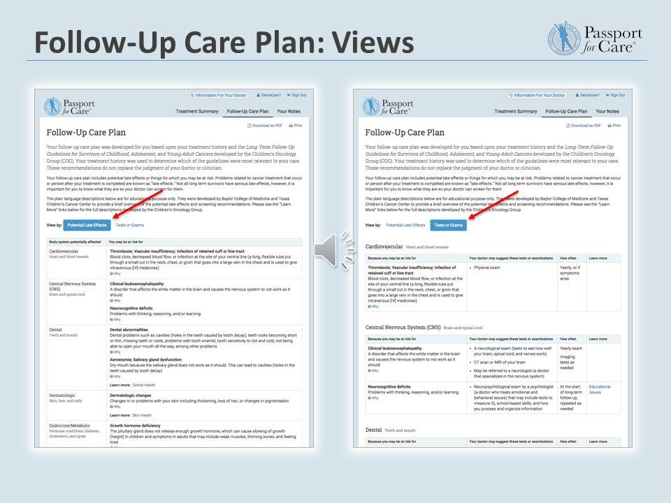 Follow-Up Care Plan: Views