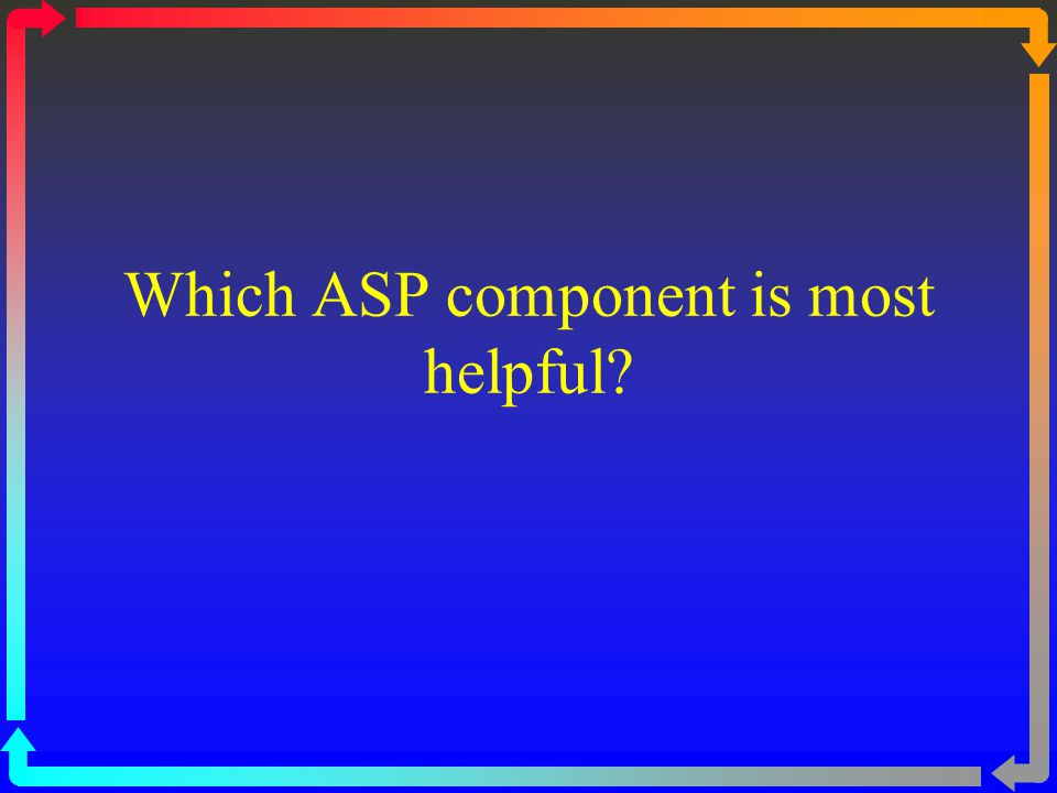Which ASP component is most helpful?