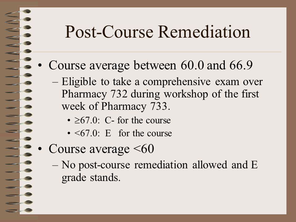 Post-Course Remediation Course average between 60.0 and 66.9 –Eligible to take a comprehensive exam over Pharmacy 732 during workshop of the first week of Pharmacy 733.
