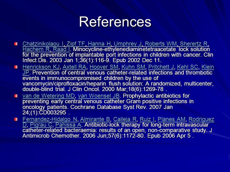 References Chatzinikolaou IChatzinikolaou I, Zipf TF, Hanna H, Umphrey J, Roberts WM, Sherertz R, Hachem R, Raad I.