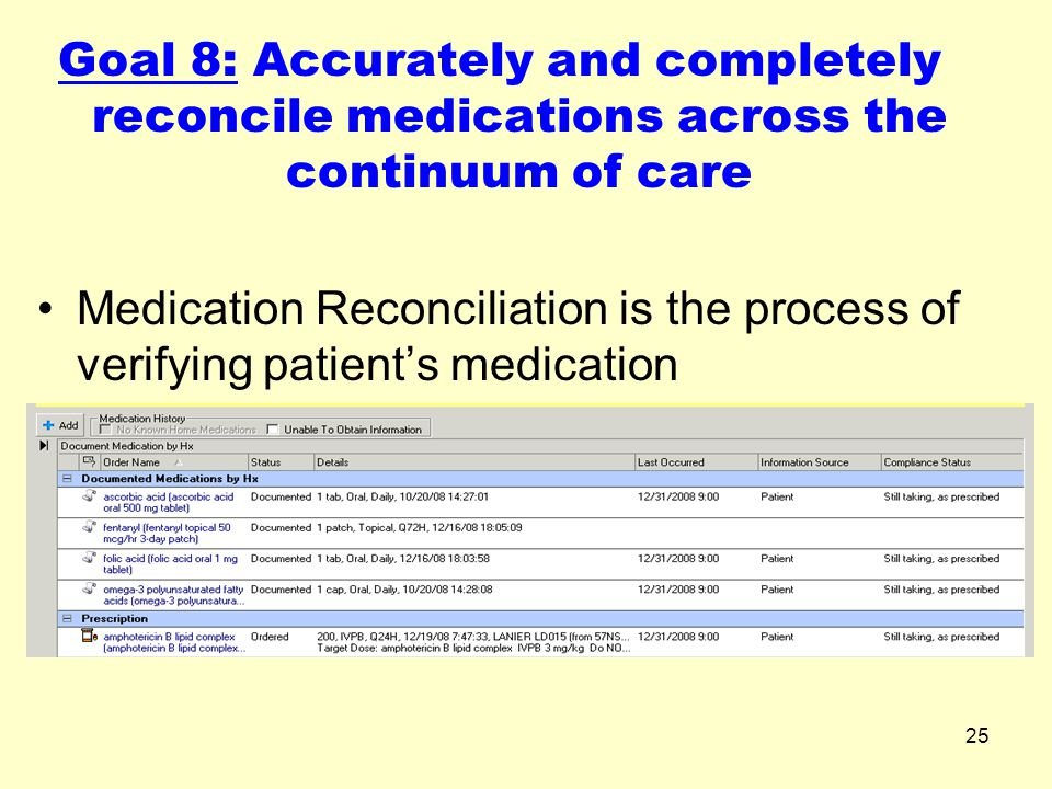 25 Goal 8: Accurately and completely reconcile medications across the continuum of care Medication Reconciliation is the process of verifying patient'