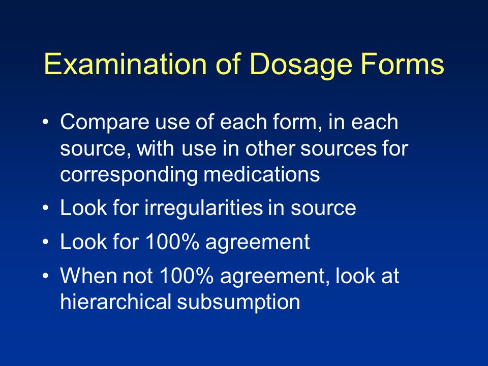 Examination of Dosage Forms Compare use of each form, in each source, with use in other sources for corresponding medications Look for irregularities