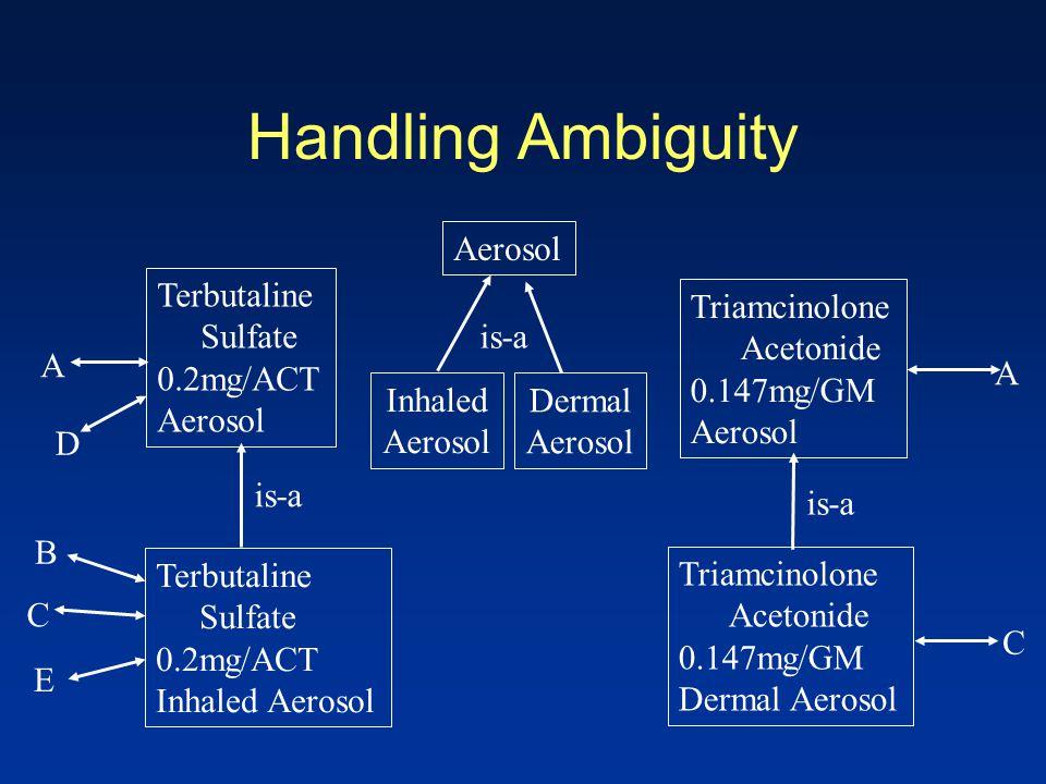 Handling Ambiguity Aerosol Inhaled Aerosol is-a Dermal Aerosol A Triamcinolone Acetonide 0.147mg/GM Aerosol A Terbutaline Sulfate 0.2mg/ACT Aerosol D Terbutaline Sulfate 0.2mg/ACT Inhaled Aerosol C E B C Triamcinolone Acetonide 0.147mg/GM Dermal Aerosol is-a