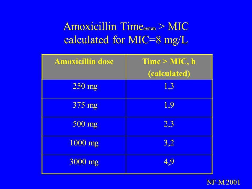 Amoxicillin Time serum > MIC calculated for MIC=8 mg/L Amoxicillin doseTime > MIC, h (calculated) 250 mg1,3 375 mg1,9 500 mg2,3 1000 mg3,2 3000 mg4,9 NF-M 2001