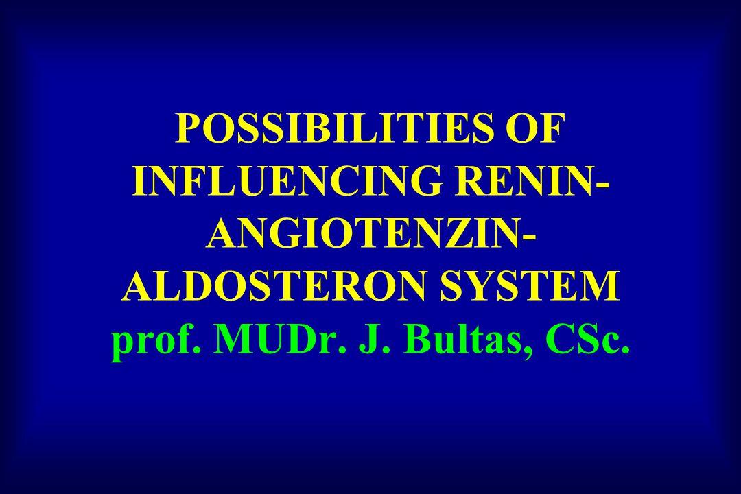POSSIBILITIES OF INFLUENCING RENIN- ANGIOTENZIN- ALDOSTERON SYSTEM prof. MUDr. J. Bultas, CSc.