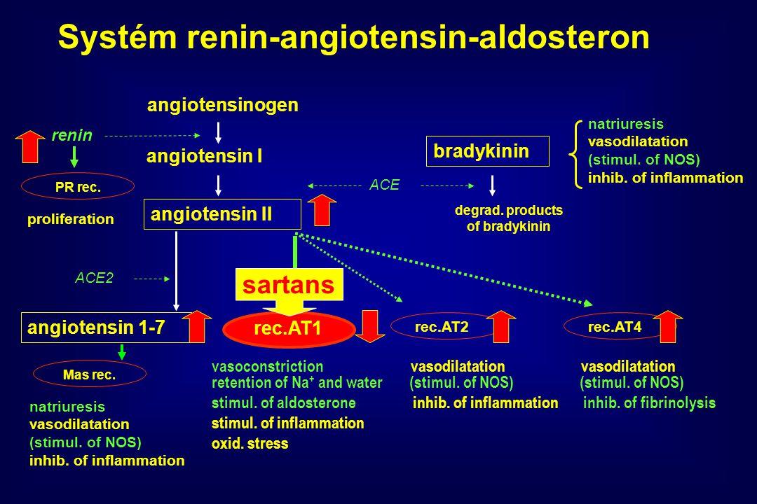 angiotensinogen angiotensin I angiotensin II ACE bradykinin degrad.