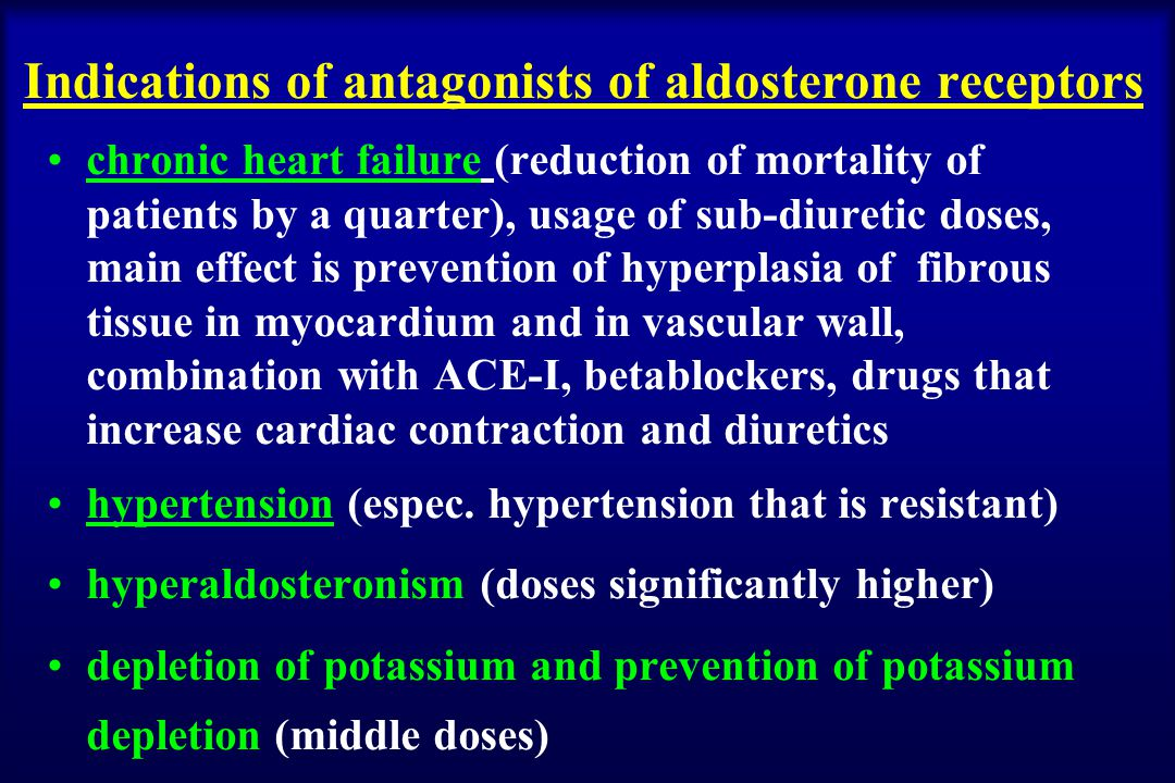 Indications of antagonists of aldosterone receptors chronic heart failure (reduction of mortality of patients by a quarter), usage of sub-diuretic doses, main effect is prevention of hyperplasia of fibrous tissue in myocardium and in vascular wall, combination with ACE-I, betablockers, drugs that increase cardiac contraction and diuretics hypertension (espec.