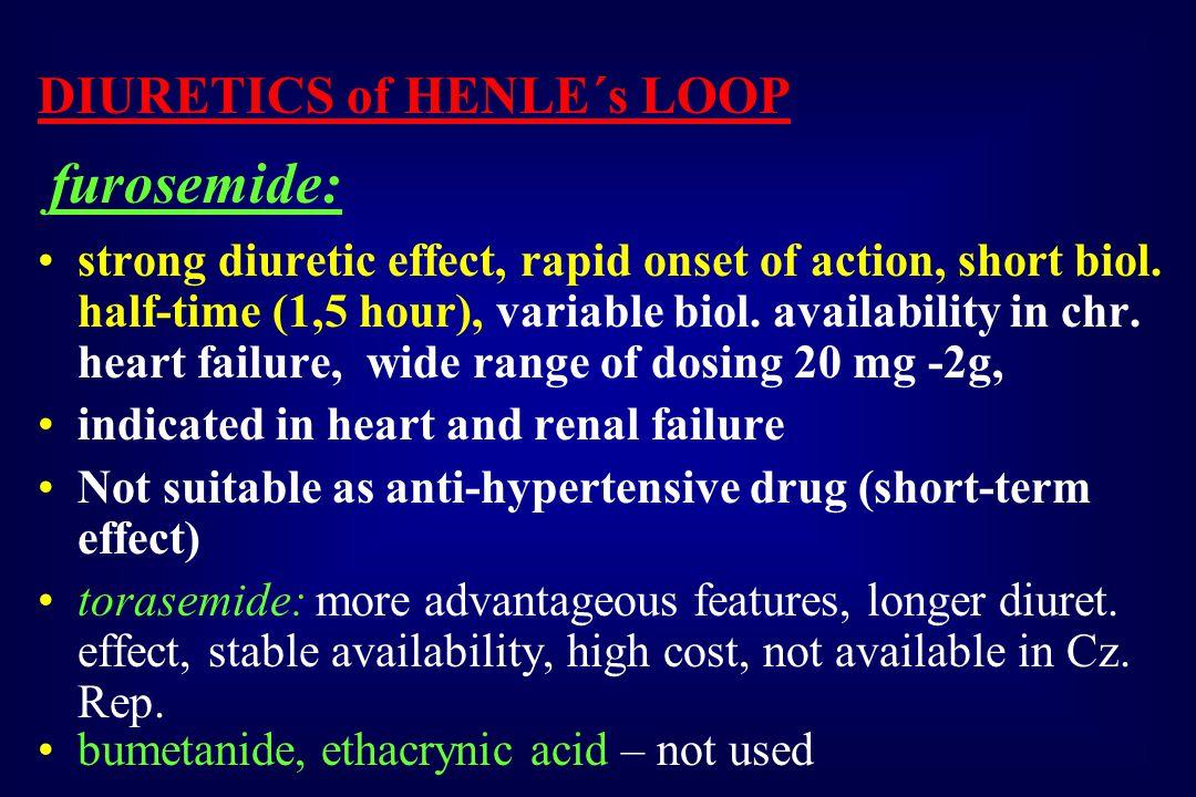DIURETICS of HENLE´s LOOP furosemide: strong diuretic effect, rapid onset of action, short biol.