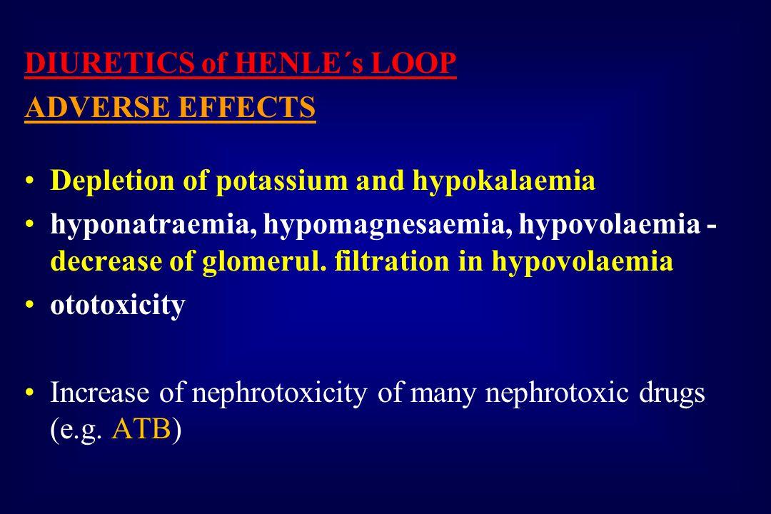 DIURETICS of HENLE´s LOOP ADVERSE EFFECTS Depletion of potassium and hypokalaemia hyponatraemia, hypomagnesaemia, hypovolaemia - decrease of glomerul.