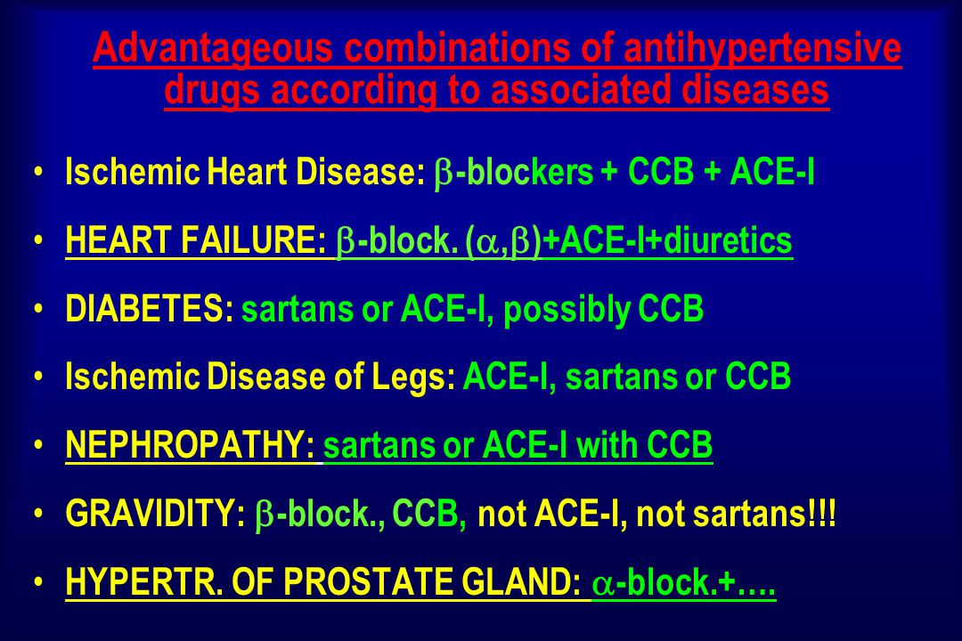 Advantageous combinations of antihypertensive drugs according to associated diseases Ischemic Heart Disease:  -blockers + CCB + ACE-I HEART FAILURE:  -block.