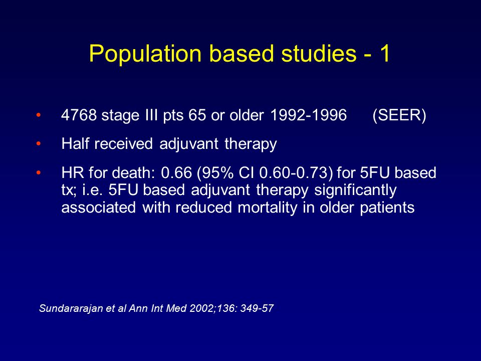 Population based studies - 1 4768 stage III pts 65 or older 1992-1996 (SEER) Half received adjuvant therapy HR for death: 0.66 (95% CI 0.60-0.73) for 5FU based tx; i.e.