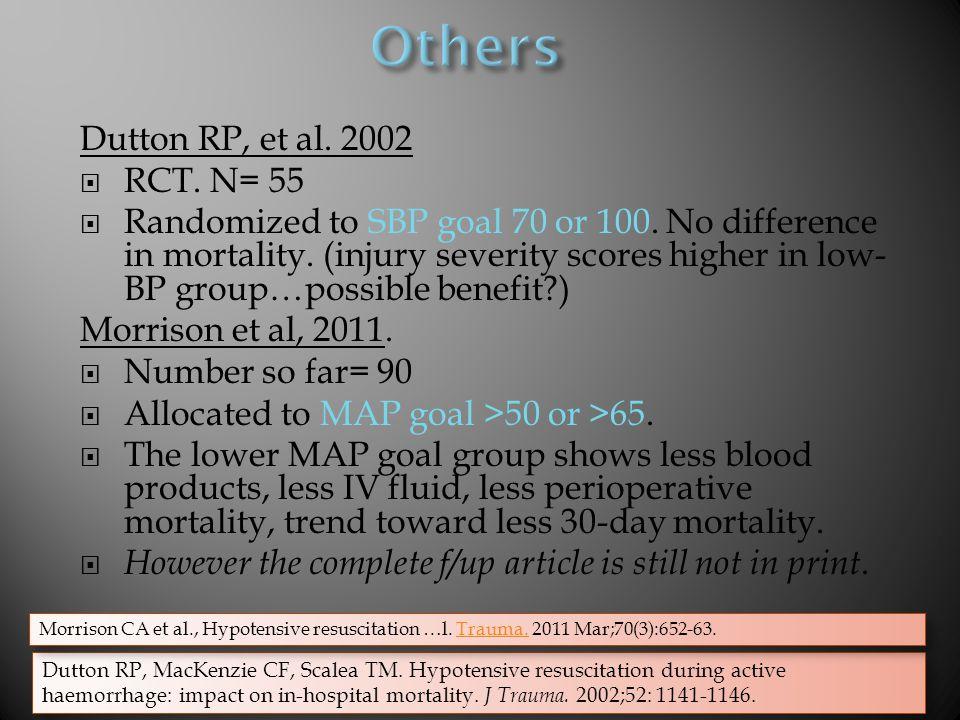 Dutton RP, et al.2002  RCT. N= 55  Randomized to SBP goal 70 or 100.