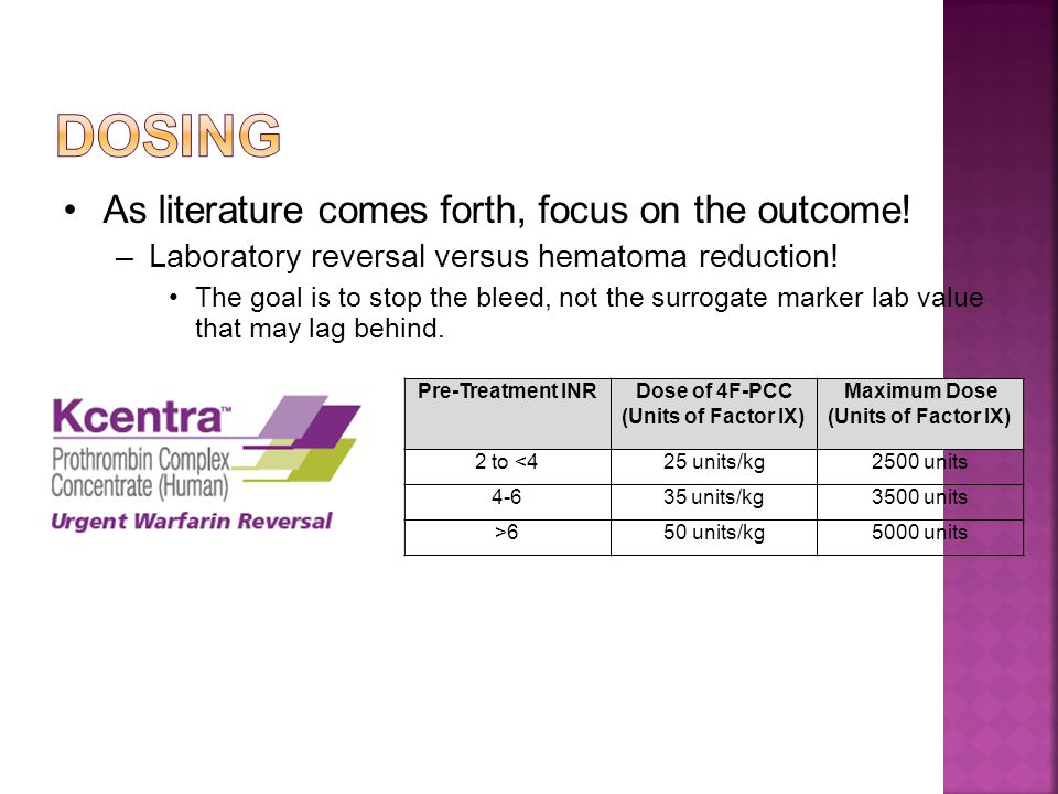 As literature comes forth, focus on the outcome.–Laboratory reversal versus hematoma reduction.