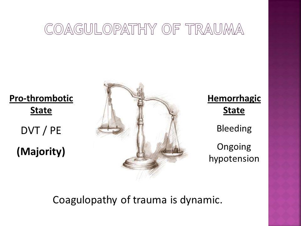 Pro-thrombotic State DVT / PE (Majority) Hemorrhagic State Bleeding Ongoing hypotension Coagulopathy of trauma is dynamic.