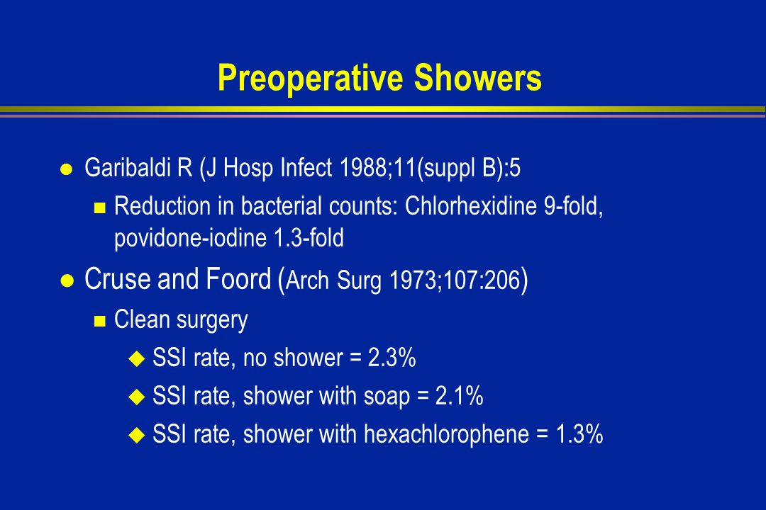 Preoperative Showers l Garibaldi R (J Hosp Infect 1988;11(suppl B):5 Reduction in bacterial counts: Chlorhexidine 9-fold, povidone-iodine 1.3-fold l Cruse and Foord ( Arch Surg 1973;107:206 ) Clean surgery  SSI rate, no shower = 2.3%  SSI rate, shower with soap = 2.1%  SSI rate, shower with hexachlorophene = 1.3%