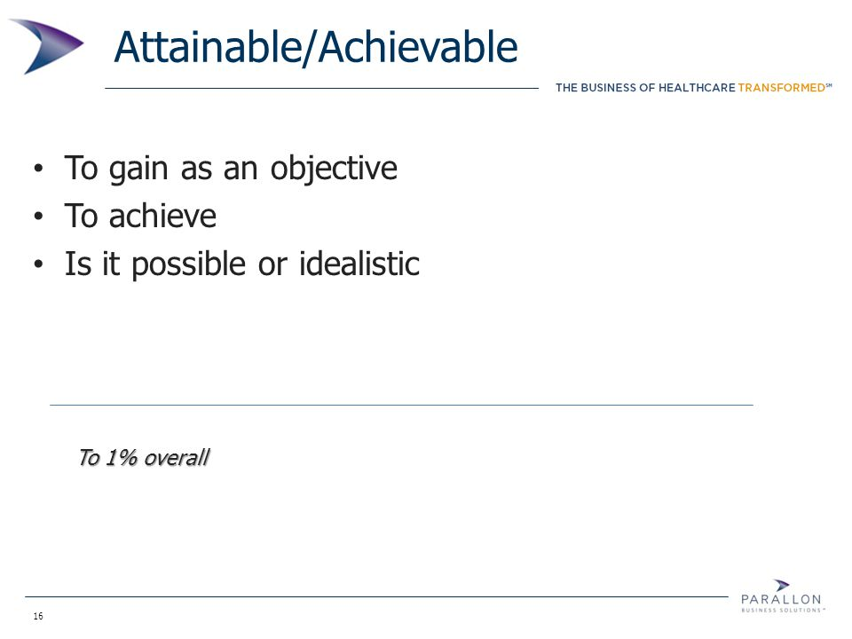 16 Attainable/Achievable To gain as an objective To achieve Is it possible or idealistic To 1% overall