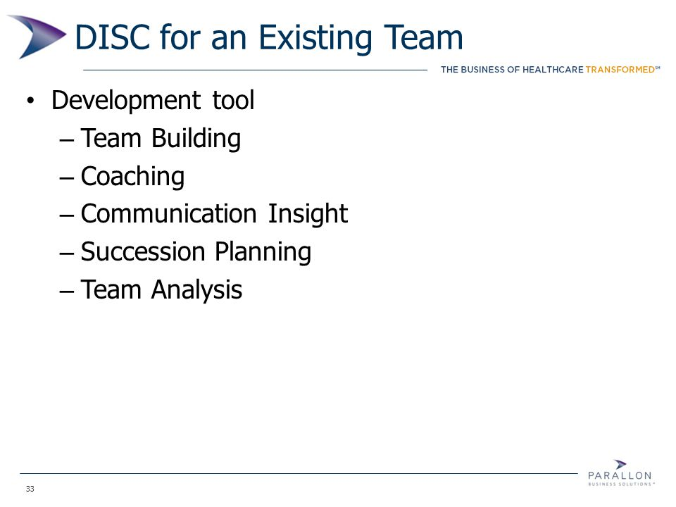 33 DISC for an Existing Team Development tool – Team Building – Coaching – Communication Insight – Succession Planning – Team Analysis